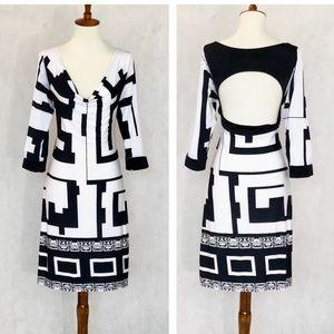 Analili Open Back Geometric Pattern Knit Dress
